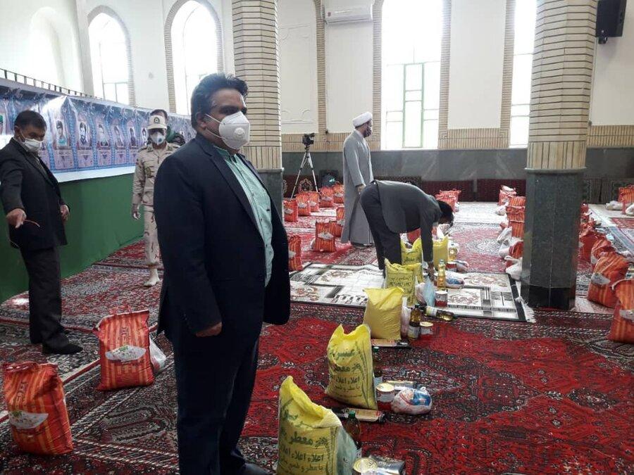 توزیع ۴۵۰  بسته مواد غذایی در راستای پویش همدلی مومنانه  شهرستان رازوجرگلان