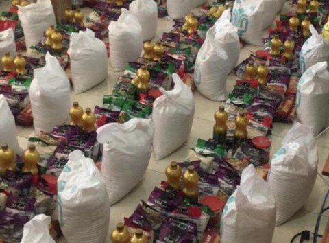 توزیع بیش از پنجاه بسته غذایی خشک بین زنان خود سرپرست و بدسرپرست