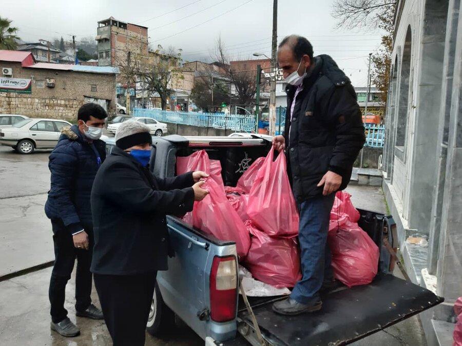 سوادکوه| توزیع ۱۱۰ بسته سبدغذایی مددجویان بهزیستی
