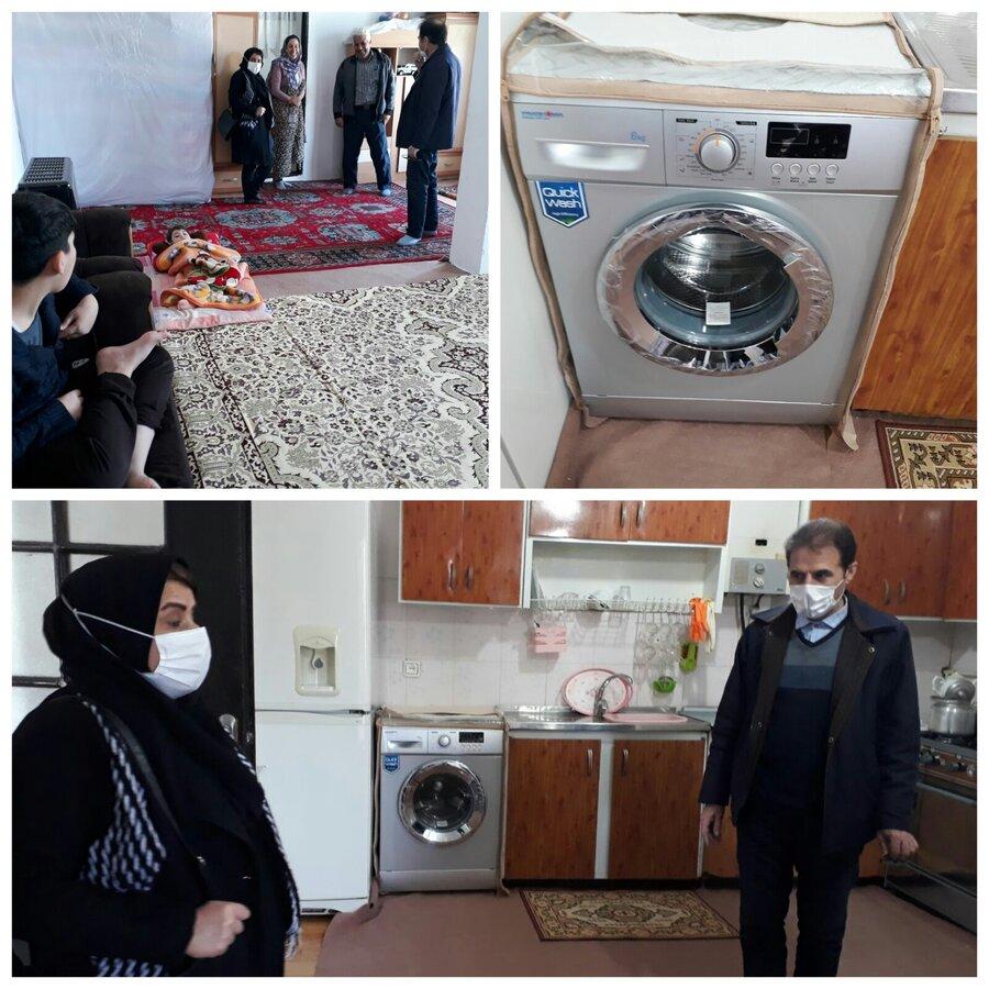 اهدای یک دستگاه ماشین لباس شویی نو به خانواده چند معلوله