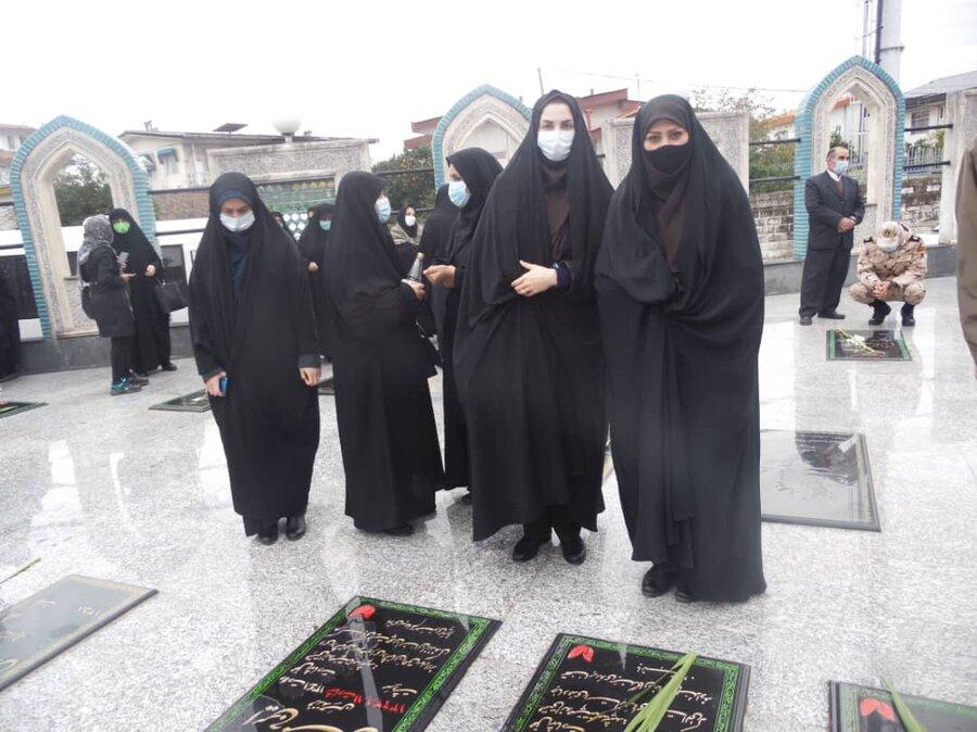 نوشهر│رئیس و کارکنان اداره بهزیستی شهرستان نوشهر به شهدای دفاع مقدس ادای احترام کردند