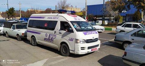 گزارش تصویری از مانور خودروهای خدمات سیار اورژانس اجتماعی ۱۲۳