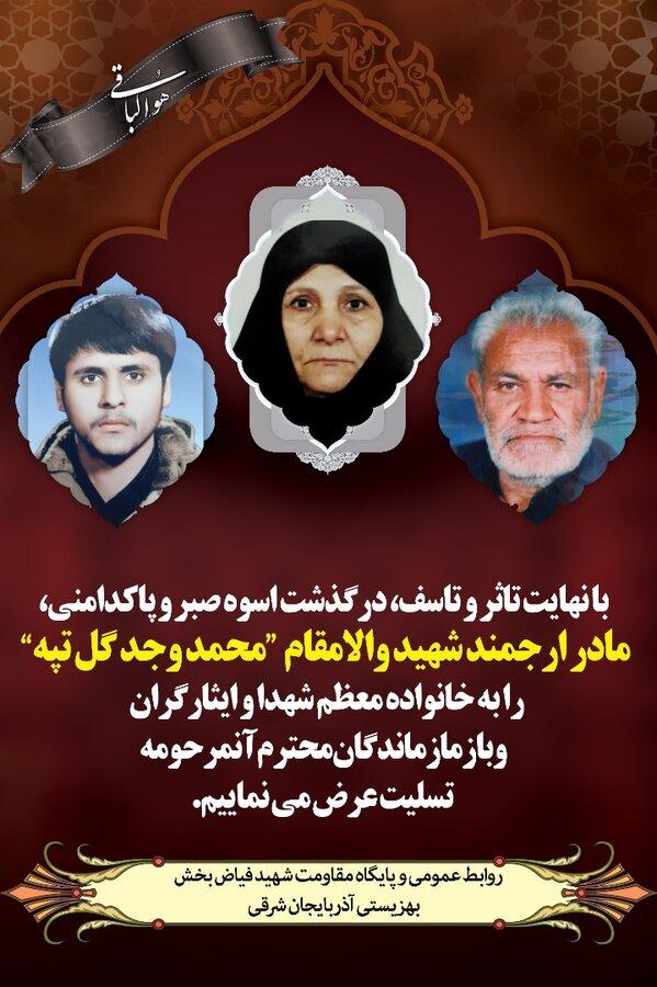 پوستر  پیام تسلیت مدیر کل بهزیستی به مناسبت درگذشت مادر شهید