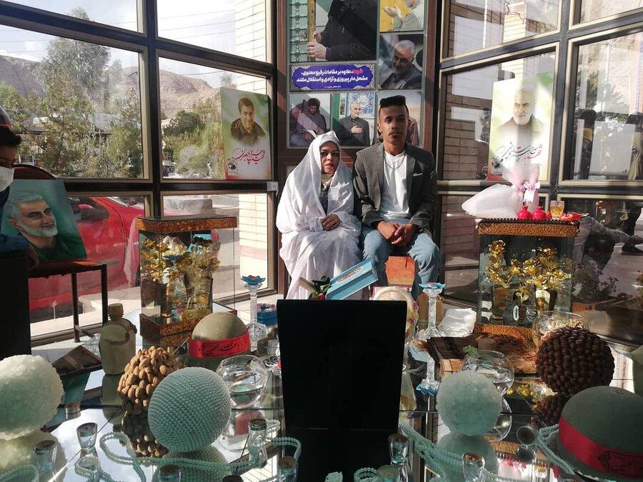 پیوند آسمانی زوج معلول کرمانی در جوار مزار حاج قاسم