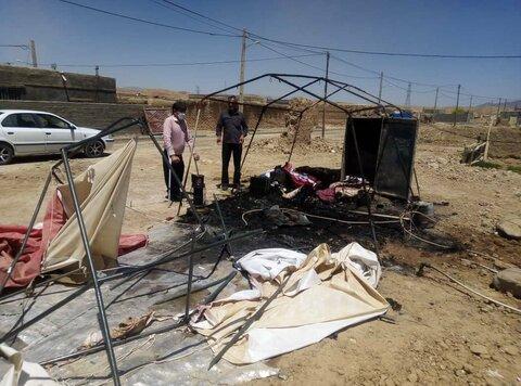 آتش سوزی در چادر یکی از زلزله زدگان گرمه