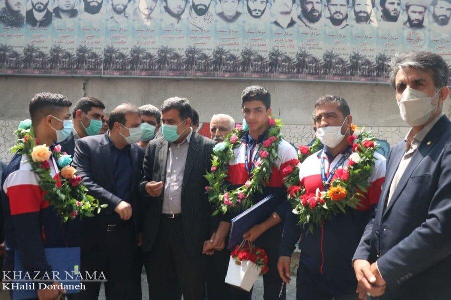استقبال معاون توانبخشی بهزیستی مازندران از کشتیگیران تیم ملی ناشنوایان
