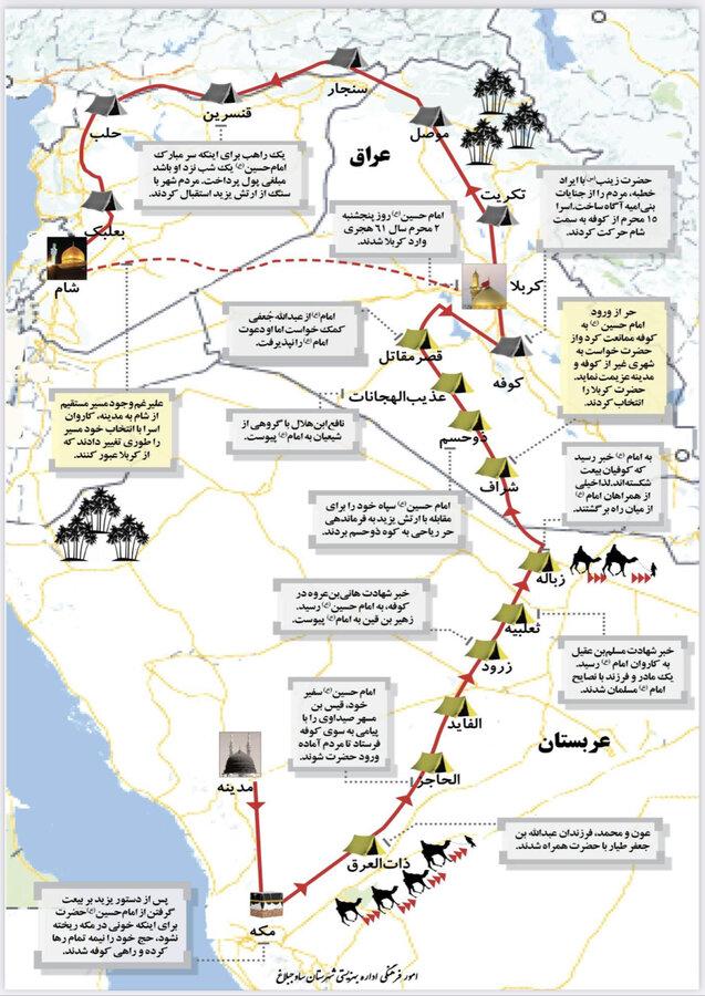 اینفوگرافیک | مسیر حرکت کاروان امام حسین (ع)
