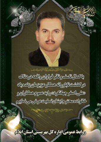 پیام تسلیت مدیر کل بهزیستی ایلام در پی درگذشت همکار  زنده یاد «علی اصغر جهانگرد»