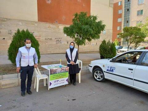 گزارش تصویری | فضاسازی و تبلیغات محیطی و استقرار خودروهای اورژانس اجتماعی در سطح شهر
